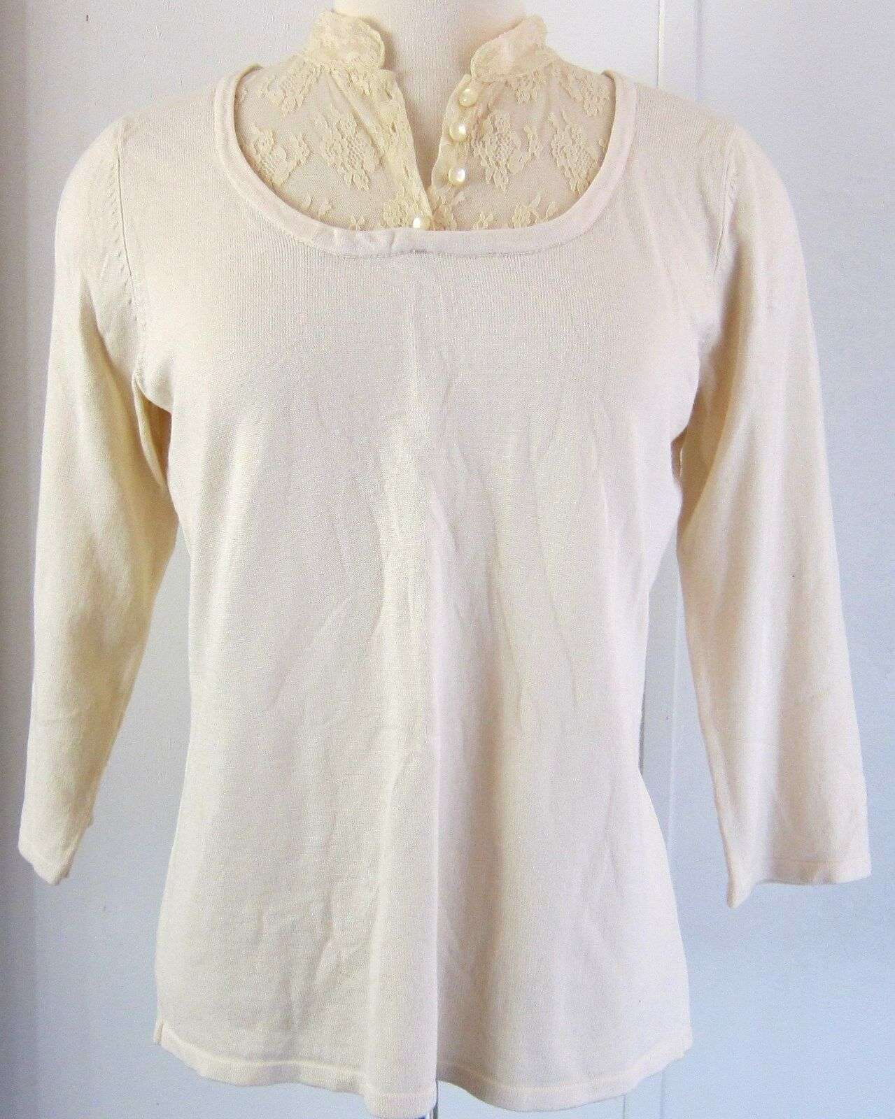 Notations Sz Med Womens Cream Color Sweater Lace Pearl Buttons W ...