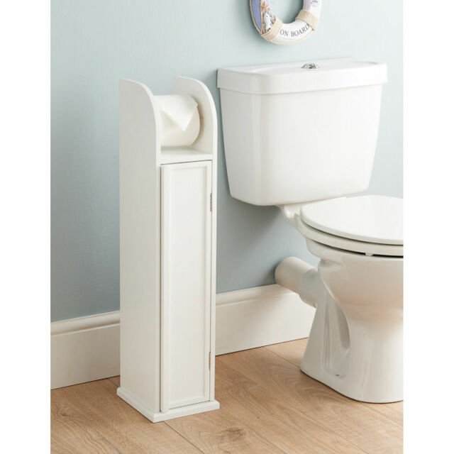 White Wood Free Standing Toilet Paper Roll Holder Bathroom Storage Cabinet
