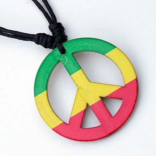 Reggae Hippie Rasta Peace Sign Pendant Adjustable Cord Necklace