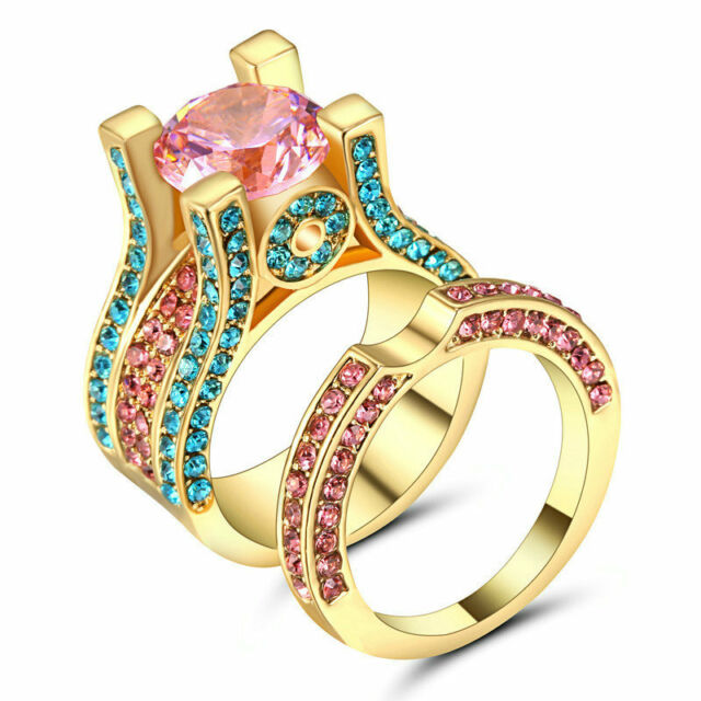 Multicolor CZ Pink Topaz Wedding Ring Set Band Womens Yellow Gold
