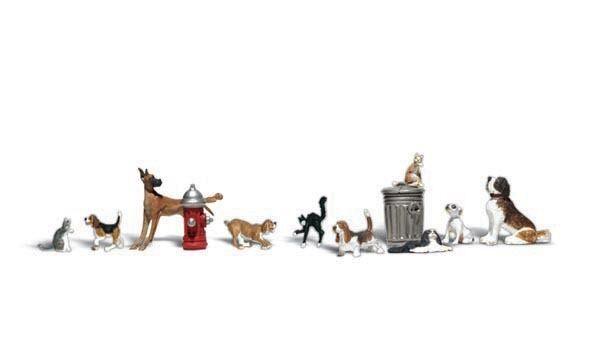 """0 Woodland Scenics A2725 Figuren-Set Hunde und Katzen """"Dogs & Cats neu"""