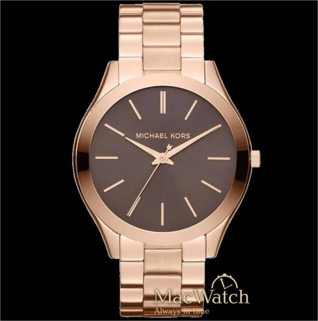 Michael Kors Damen Uhr Slim Runway MK3181 Edelstahl, Rosegold Braun NEU OVP