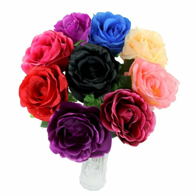 Set of 9x large open roses bulk wholesale silk artificial flowers set of 9x large open roses bulk wholesale silk artificial flowers stems mightylinksfo