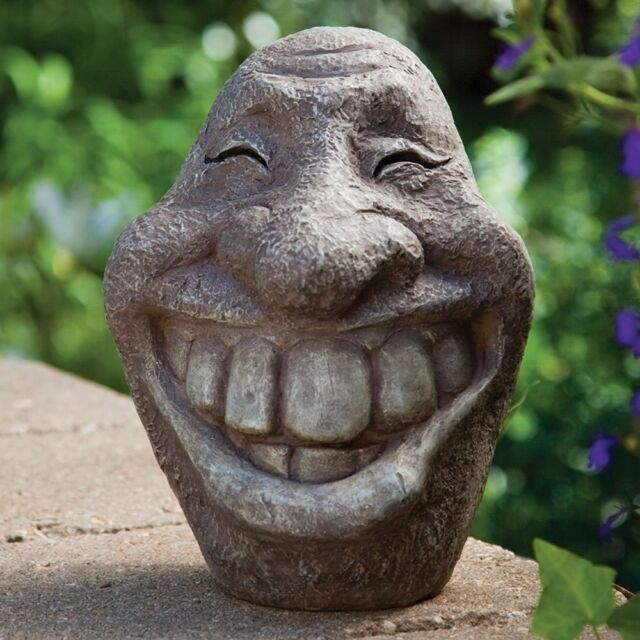 Garden Statue Smiley Face Art Decor Home Yard Patio Lawn Outdoor Sculptur  Gift