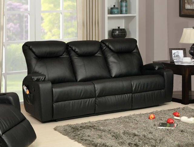 New Luxury Cinema Hollywood 3 Seater Bonded Leather Recliner Sofa - Black : ebay lazy boy recliners - islam-shia.org