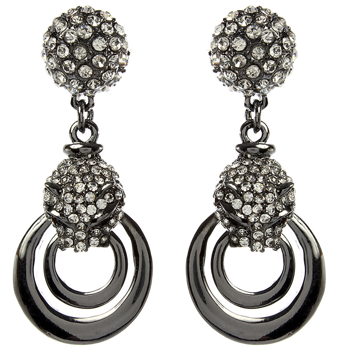brands ladies fort gunmetal p earrings glitter large nichole lewis