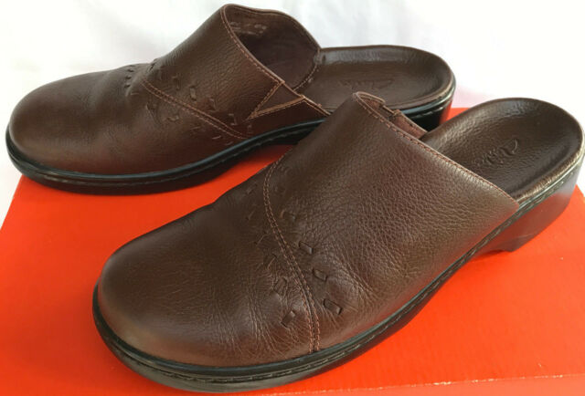 Clarks Lexi SMU 74616 Slip-On Closed Mules Brown Leather Clogs Shoes  Women's 9 M