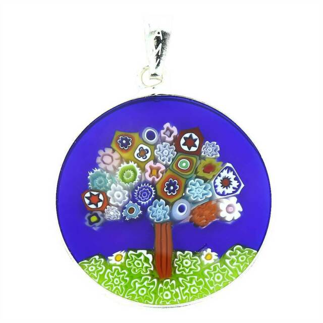 Glassofvenice murano glass millefiori pendant tree of life in glassofvenice murano glass millefiori pendant tree of life in silver aloadofball Images