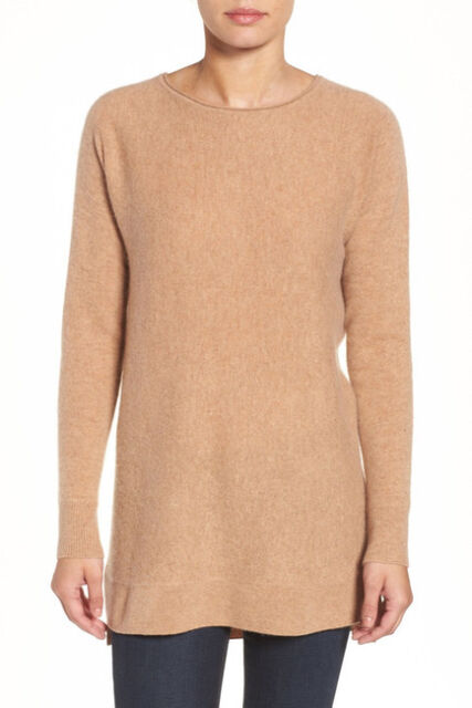 Halogen High/low Wool & Cashmere Tunic Sweater Camel MP | eBay