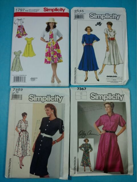 Lot 43 Group Of 4 Vintage Sewing Patterns Simplicity Retro Womens
