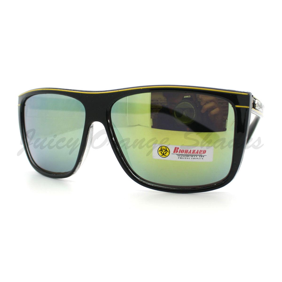 2b54b46e877 Biohazard Sunglasses Mens Square Sporty Skater Fashion Frame Black Purple
