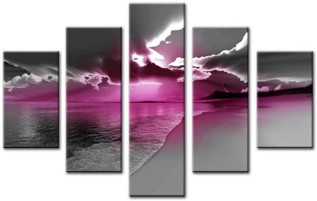 ZETA 5p Pink Plum Large Wall Art Canvas Print Artwork Framed Home ...