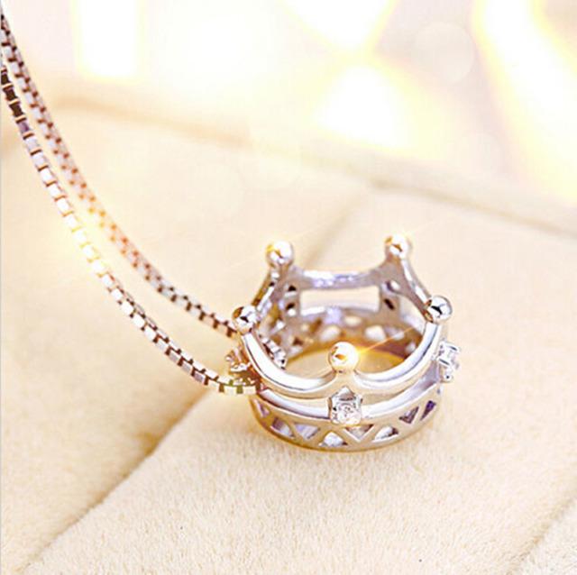 Flawless women girls princess crown hot silver plated pendant for flawless women girls princess crown hot silver plated pendant for chain necklace aloadofball Gallery
