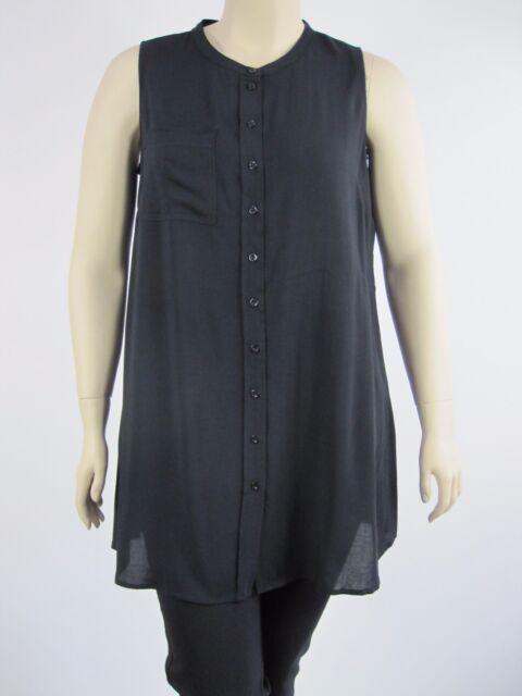 Autograph Ladies Sleeveless Longline Shirt Top sizes 14 20 22 24 26 Colour Black