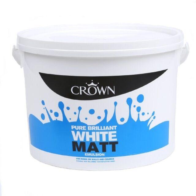 Crown Mat émulsion Pur Blanc Brillant Mur U0026 PLAFOND PEINTURE 10litres