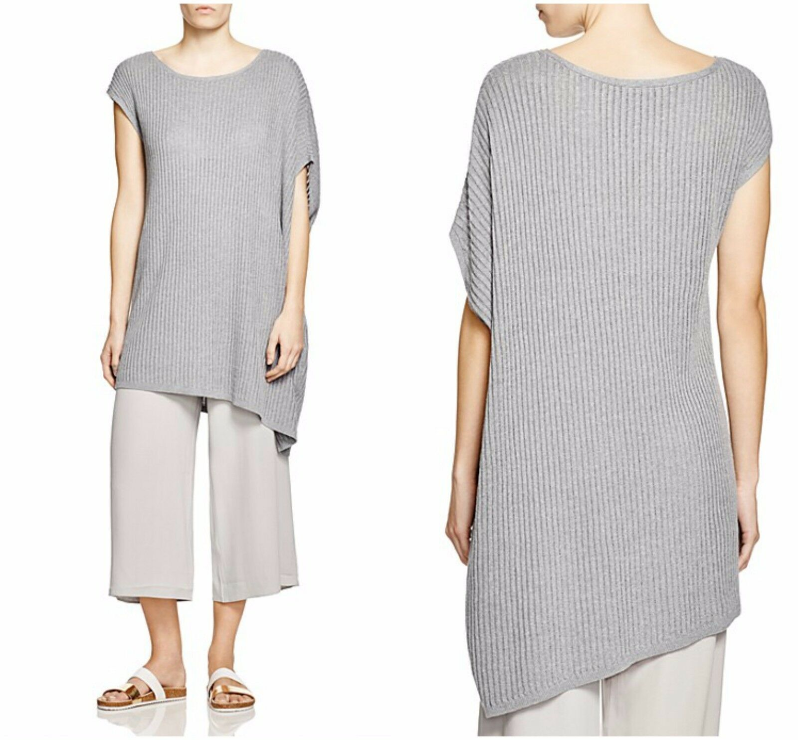 Eileen Fisher 2189 Womens Gray Linen Ribbed Knit Tunic Sweater Top ...