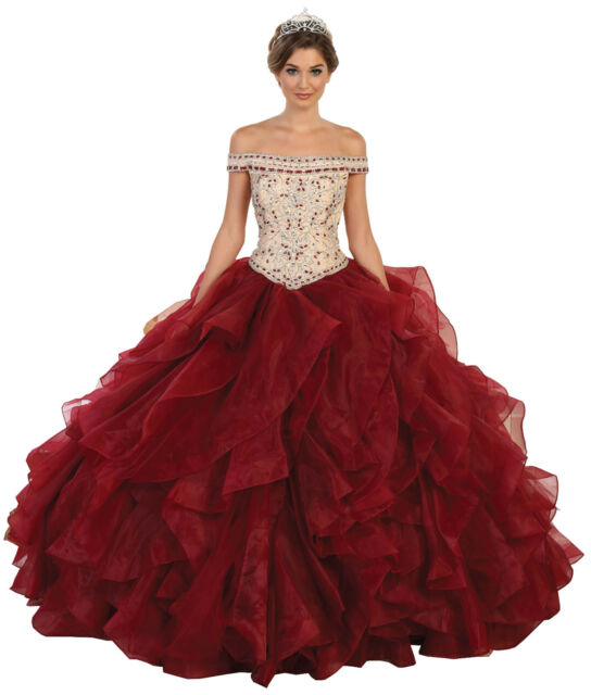Quinceanera Formal Evening Gown Off- Shoulder Military Ball Dress ...