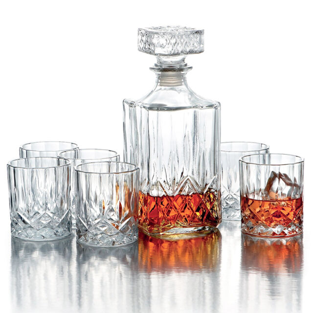 Great Whiskey Decanter Set Of 7 Crystal Scotch Rocks Glasses Drinking Barware  Glass