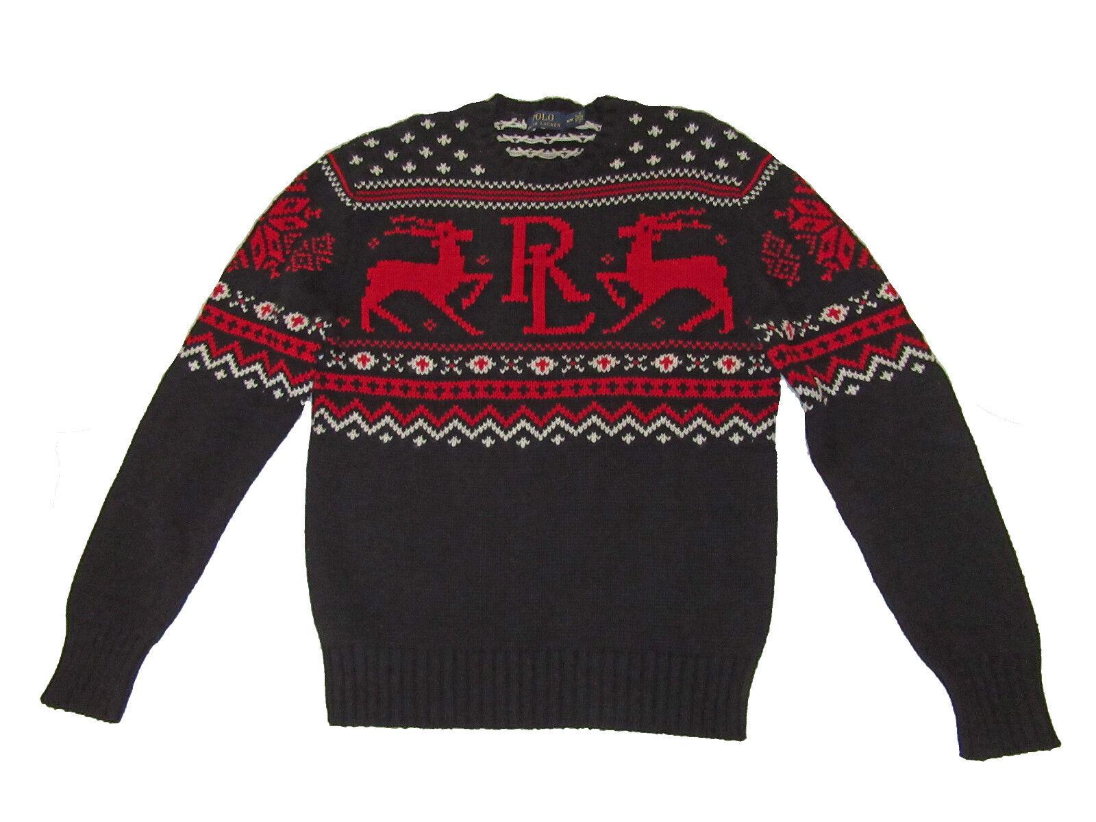 Polo Ralph Lauren Black Red Fair Isle Reindeer Cotton Cashmere ...