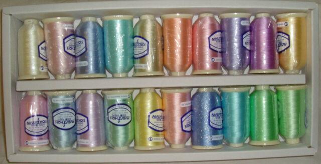 Marathon Embroidery Machine Thread Rayon 20 X 1 000m Spools Pastel