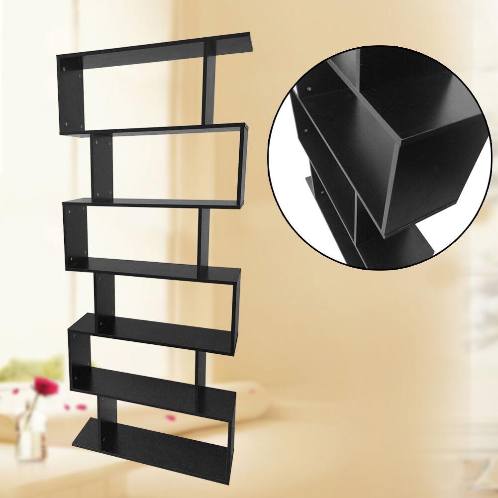 display shelf storage bookshelf 6 level tier ladder wall bookcase stand rack us black ebay
