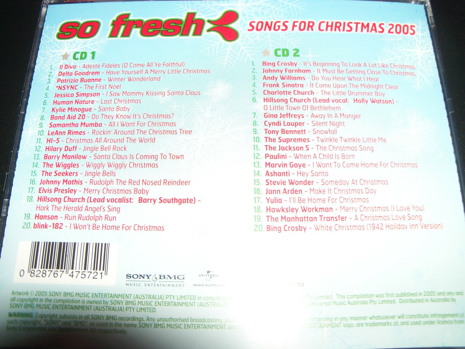 2cd so Fresh Songs for Christmas Xmas 2005 Kylie Wiggles Delta ...