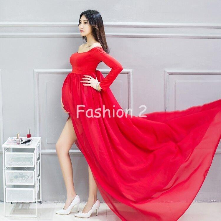 Mixed Chiffon Maternity Photography Props Long Pregnancy Dress ...