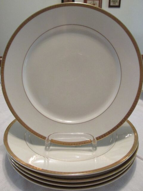5 Thomas by Rosenthal DINNER PLATES 9.8  Gold Flower Encrusted Rim Ivory China & 5 Thomas by Rosenthal Dinner Plates 9.8