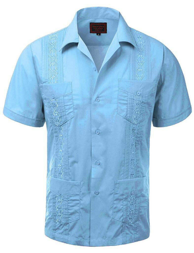 Guayabera Men\'s Cuban Beach Wedding Short Sleeve Button-up Casual ...