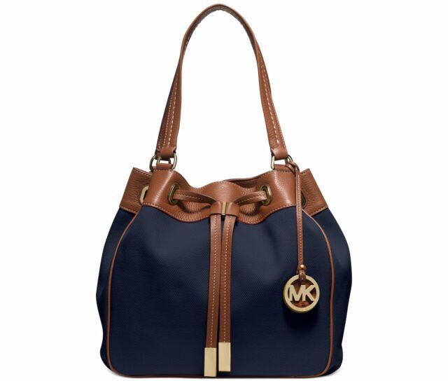 NWT Michael Kors Navy Blue Marina Large Canvas Handbag Drawstring Tote $268