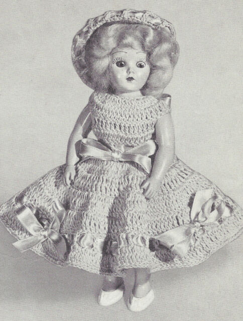 Vintage Crochet Pattern To Make 8 Inch Doll Clothes Panties Dress