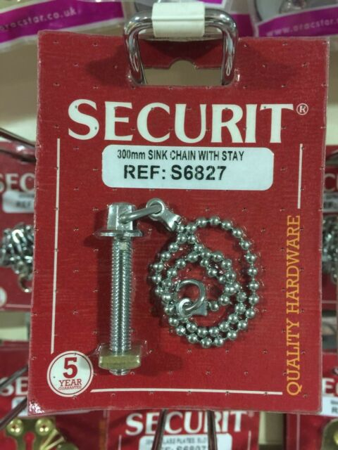 SECURIT 300MM CHROME BALL SINK CHAIN WITH STAY S6827