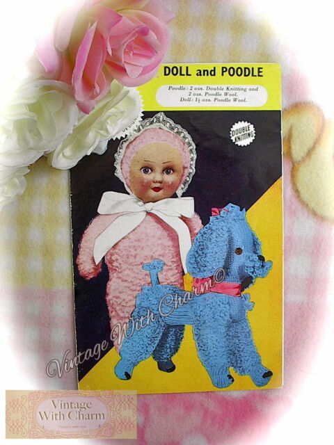 Vintage 1940s Toy Knitting Pattern Doll Poodle Dog Just Uk Ebay