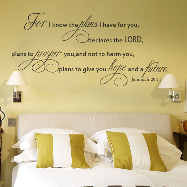 Scripture Wall Decal for I Know The Plans Jeremiah 29 11 Word Vinyl ...