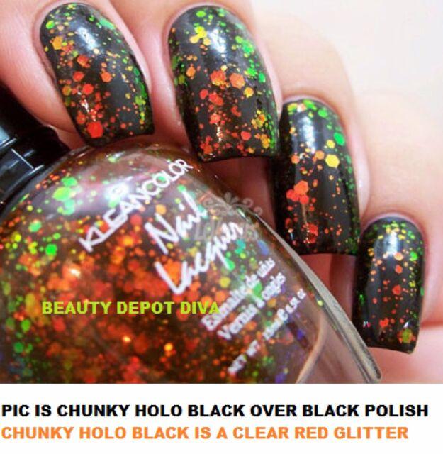 KleanColor Nail Polish Lacquer 236 Chunky Holo Black .5 Oz ...