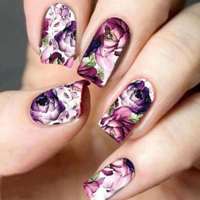 5pcs/set Nail Art Water Decals Stickers Transfers Deep Purple ...
