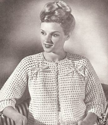 Vintage Knitting Pattern To Make Bed Jacket Sweater Lace Shortie