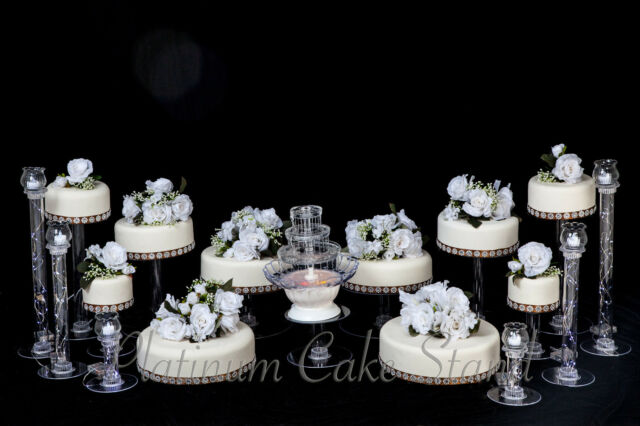 10 Tier Wedding Cake Stand With Fountain and 6 Candle Votive Set ...