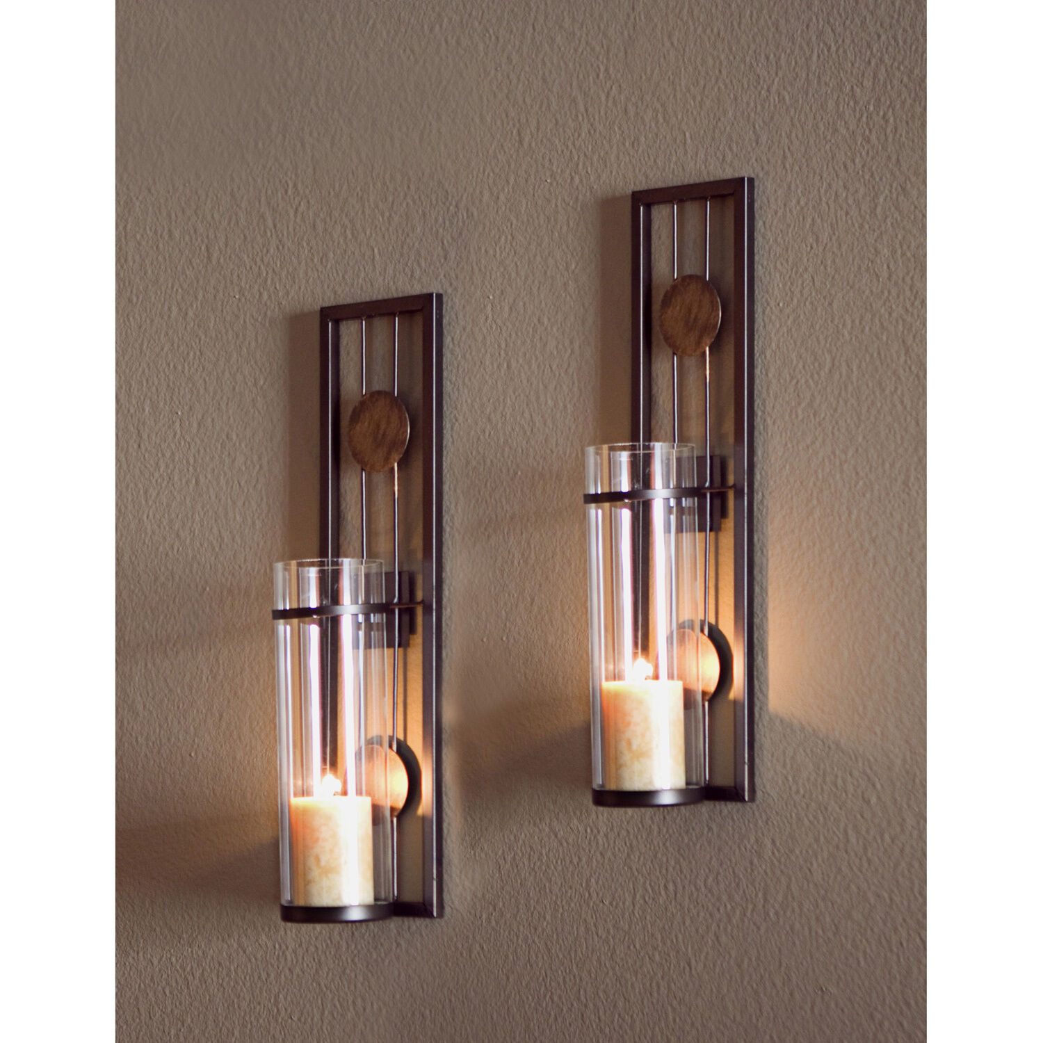 Wall sconce candle holder contemporary design modern metal glass picture 1 of 3 amipublicfo Choice Image