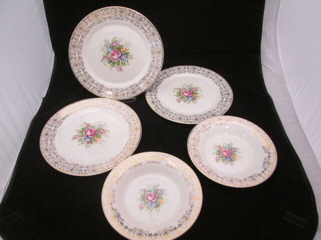 Triumph by Limoges Made in USA Rosalie Warranted 22K Gold Dinner Plates \u0026 Bowls & Triumph by Limoges Made in USA Rosalie Warranted 22k Gold Dinner ...