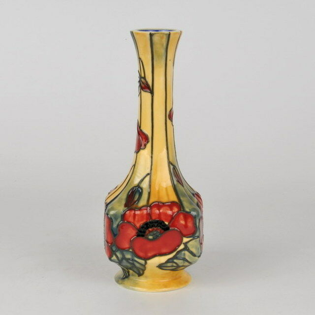 Old Tupton Ware Yellow Poppy Hand Painted Tube Lined Vase 7 Tw1691
