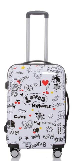 Reise Koffer Trolley mit Hartschale aus Polycarbonat Gr.L Motiv Loves Happiness