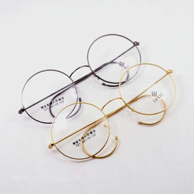 42-54mm Vintage Round Gold/gray Wire Rim Eyeglass Frame Spectacles ...