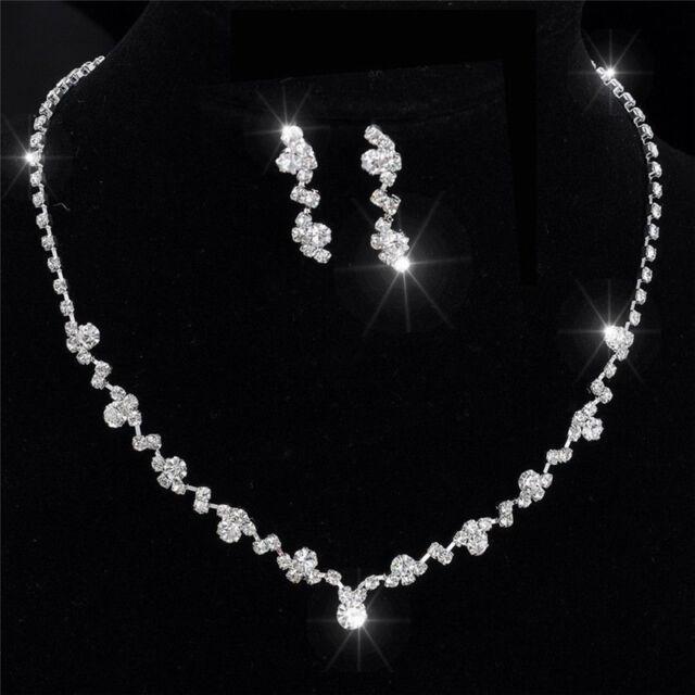 Silver Bridesmaid Crystal Necklace Earrings Set Wedding Bridal Jewelry Pop