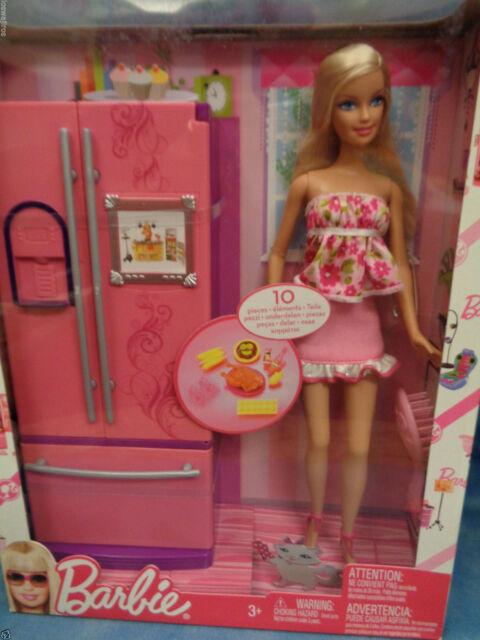 Barbie Toy Food : Mattel barbie doll gift set with pink refrigerator