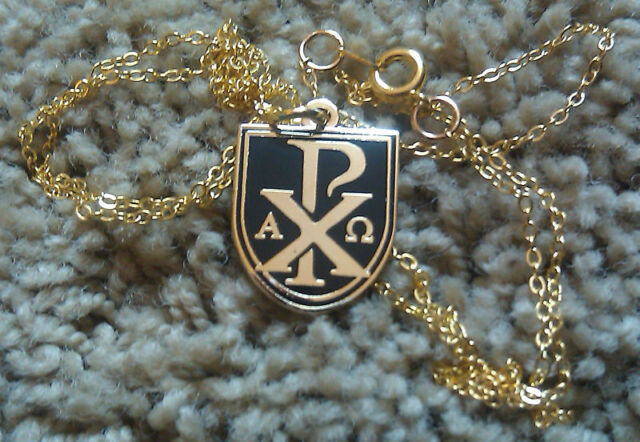 Chi rho or sigla alpha omega pendant w 24 chain ebay chi rho or sigla alpha omega pendant with free mozeypictures Gallery