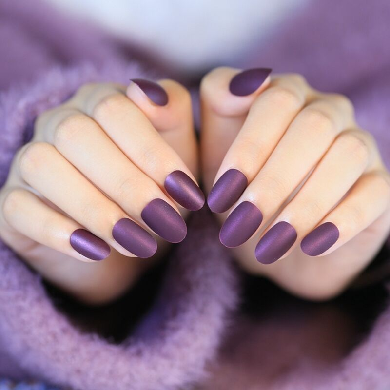 Matte Style Fake Nails Round Wine Grape Purple Lady Acrylic False ...