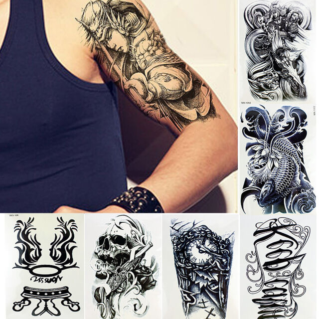10 sheets temporary tattoos body arm tattoo sticker long