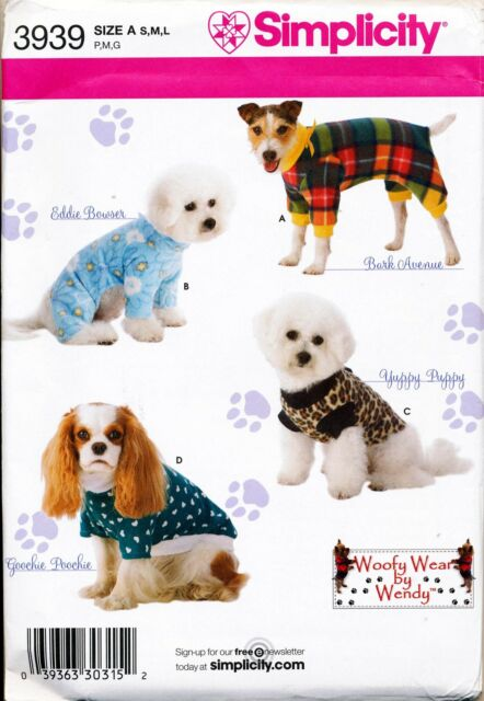 Simplicity Sewing Pattern 3939 S-m-l Dog Clothes / Coats in Three ...