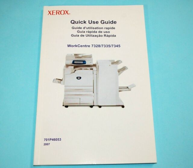 xerox quick use guide workcentre 7328 7335 7345 user manual book rh ebay com Xerox 7335 Service Manual Xerox Mailboxes